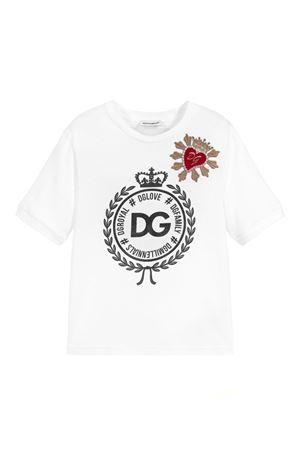 T-SHIRT BIANCA DOLCE E GABBANA KIDS CON LOGO NERO Dolce & Gabbana kids | 8 | L5JT9ZG7RAWW0800