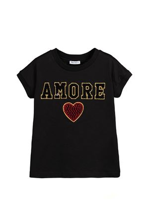 BLACK T-SHIRT DOLCE E GABBANA KIDS WITH GOLD LOVE  PRINT Dolce & Gabbana kids | 8 | L5JTCVG7RXIN0000
