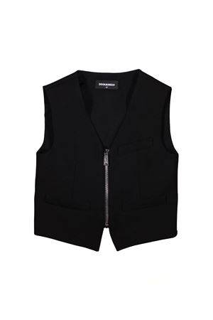BLACK VEST WITH ZIP CLOSURE DSQUARED2 KIDS DSQUARED2 KIDS | 38 | DQ03B9D00UIDQ900