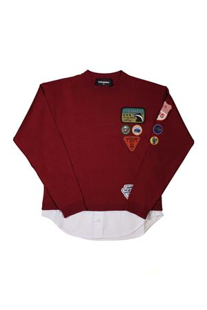 SHIRT DSQUARED2 KIDS TEEN DARK RED WITH PATCH DSQUARED2 KIDS | 7 | DQ03DUD00TLDQ400T