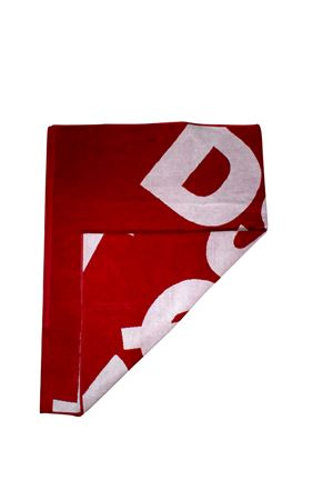 RED BEACH TOWEL DSQUARED2 KIDS WITH WHITE PRINT DSQUARED2 KIDS | 616841551 | DQ03F5D00UMDQ415