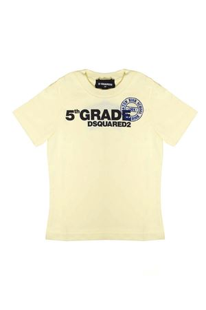 YELLOW T-SHIRT WITH BLACK AND BLU PRINT ON THE FRONT DSQUARED2 KIDS DSQUARED2 KIDS | 7 | DQ03I1D00MVDQ206