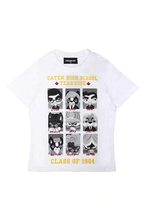 WHITE T-SHIRT WITH PRINT ON THE FRONT DSQUARED2 KIDS TEEN DSQUARED2 KIDS | 7 | DQ03I2D00MVDQ100T
