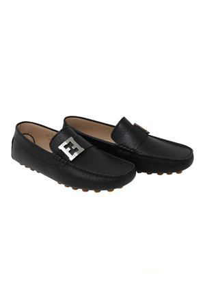 BLACK BOAT SHOES WITH METALLIC LOGO FENDI KIDS TEEN FENDI KIDS | 12 | FSZ750U6TF0QA1T