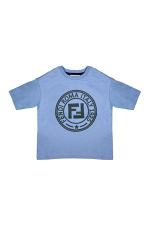 LIGHT BLUE SHIRT WITH GREEN LOGO FENDI KIDS FENDI KIDS | 8 | JMI2537AJF15A3
