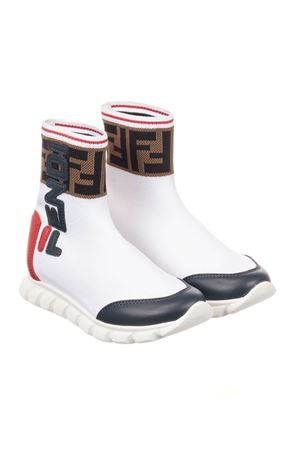 WHITE AND RED SNEAKERS FENDI KIDS