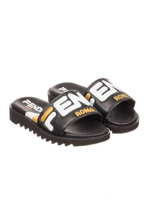 BLACK AND YELLOW TEEN SANDAL FENDI KIDS WITH LOGO
