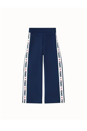 BLUE TROUSERS FENDI KIDS WITH WHITE BAND WITH LOGO