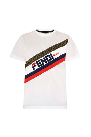 WHITE T-SHIRT FENDI KIDS WITH FRONTAL BAND PRESS AND LOGO