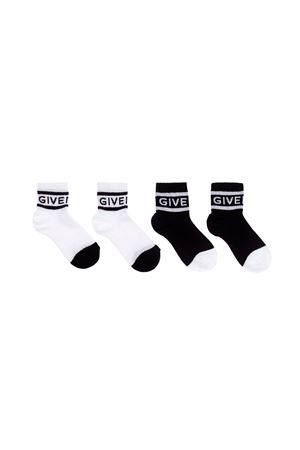 TWO PAIRS OF BLACK AND WHITE LONG SOCKS GIVENCHY KIDS  Givenchy Kids | 1658981159 | H20016M41