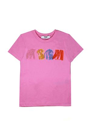 PINK T-SHIRT WITH APPLICATIONS MSGM KIDS MSGM KIDS | 8 | 018091042
