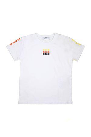 WHITE T-SHIRT LOGO IN THREE COLOURS MSGM KIDS  MSGM KIDS | 8 | 018094001