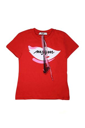 RED T-SHIRT WITH WHITE AND PINK PRINT MSGM KIDS MSGM KIDS | 8 | 018168040