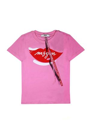 PINK T-SHIRT WITH WHITE AND RED PRINT MSGM KIDS MSGM KIDS | 8 | 018168042