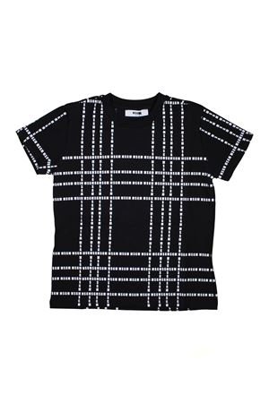 BLACK MSGM KIDS TEEN T-SHIRT WITH GEOMETRIC MOTIFS MSGM KIDS | 8 | 018176110T