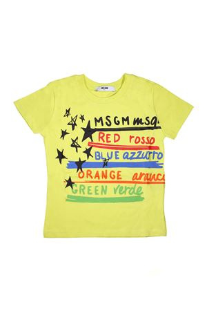 YELLOW T-SHIRT MSGM KIDS WITH MULTICOLOR PRESS MSGM KIDS | 8 | 018535023