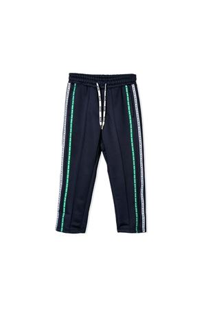DARK BLUE TROUSERS MSGM KIDS WITH GREEN BANDS MSGM KIDS | 9 | 018576060