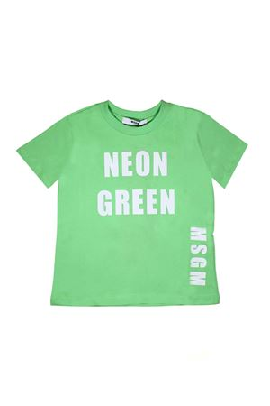 GREEN FLUO T-SHIRT MSGM KIDS WITH WHITE PRINT MSGM KIDS | 8 | 018602169