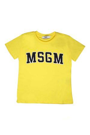 YELLOW T-SHIRT WITH BLUE MSGM LOGO  MSGM KIDS | 8 | 018610020