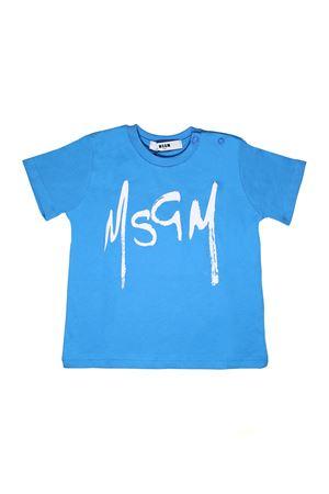 LIGHT BLUE T-SHIRT WITH BLACK LETTERING MSGM KIDS MSGM KIDS | 8 | 018782120