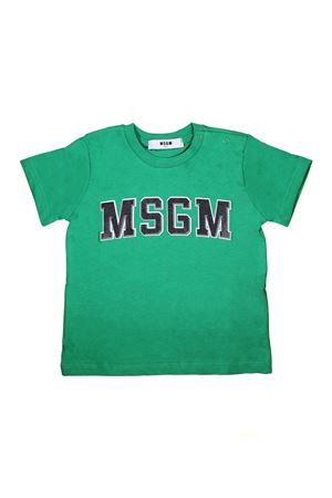 T-SHIRT VERDE MSGM KIDS CON LOGO NERO  MSGM KIDS | 8 | 018783080