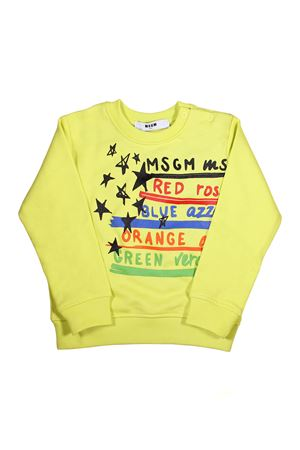 YELLOW BABY JERSEY SWEATSHIRT MSGM KIDS  MSGM KIDS | -108764232 | 019050023