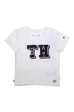 WHITE AND BLUE STRIPED TOMMY HILFIGER SWEATER TOMMY HILFIGER KIDS | 8 | KN0KN00983123