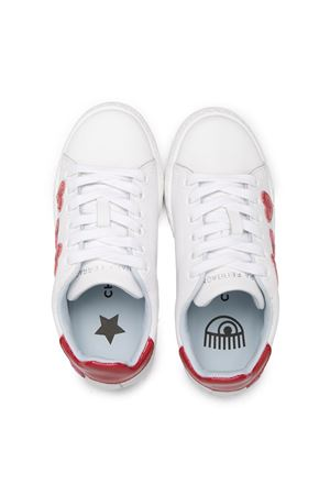 White/red/fuchsia leather heart patch platform sneakers from CHIARA FERRAGNI KIDS  CHIARA FERRAGNI KIDS | 12 | CFB055008