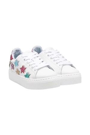 White/multicoloured leather star patch platform sneakers from CHIARA FERRAGNI KIDS  CHIARA FERRAGNI KIDS | 12 | CFB056010