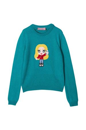 Blue cashmere-wool blend knitted embroidered motif jumper from CHIARA FERRAGNI KIDS  CHIARA FERRAGNI KIDS | 7 | CFKJM006ATLANTIC