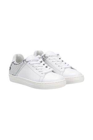 Sneakers bianche teen Balmain kids con mini paillettes silver sul retro BALMAIN KIDS | 12 | 6N0006NX400100AGT