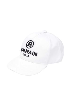 White baseball hat with logo Balmain kids BALMAIN KIDS | 75988881 | 6N0557NX530100