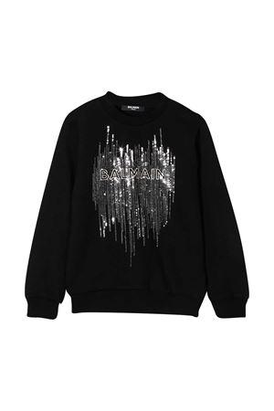 Black sweatshirt with frontal application Balmain kids BALMAIN KIDS | -108764232 | 6N4040NE060930