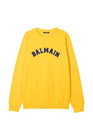 Felpa gialla con logo blu Balmain kids BALMAIN KIDS | -108764232 | 6N4690NX300201