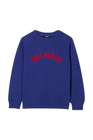 Felpa blu con logo rosso Balmain kids BALMAIN KIDS | -108764232 | 6N4690NX300616