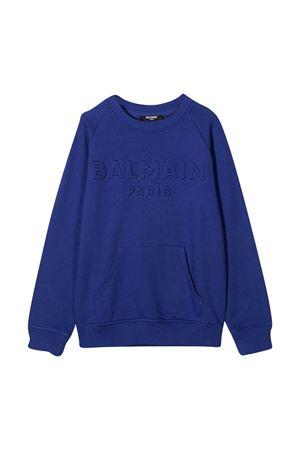 Felpa blu con logo Balmain kids BALMAIN KIDS | -108764232 | 6N4700NX300616