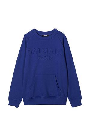 Blue teen sweatshirt with logo Balmain kids BALMAIN KIDS | -108764232 | 6N4700NX300616T