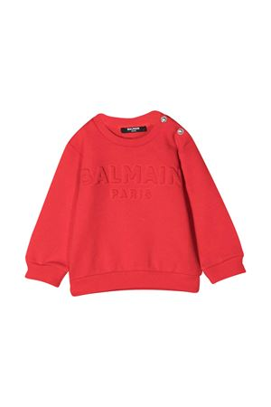 Orange sweatshirt with logo Balmain kids BALMAIN KIDS | -108764232 | 6N4840NX300412