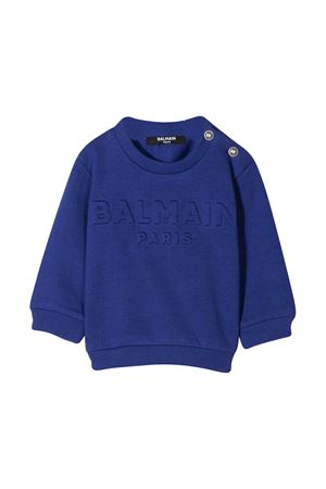 Blue sweatshirt with logo Balmain kids BALMAIN KIDS | -108764232 | 6N4840NX300616