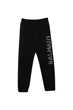 Black teen trousers with logo Balmain kids BALMAIN KIDS | 9 | 6N6607NX300930T