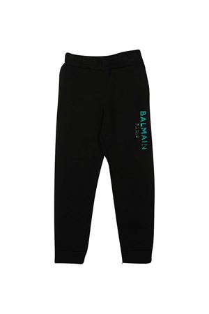 Black teen trousers with blue logo Balmain kids BALMAIN KIDS | 9 | 6N6637NX300930T
