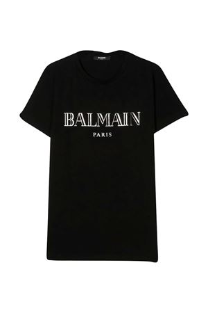 T-shirt nera teen con logo Balmain kids BALMAIN KIDS   8   6N8551NX290930AGT