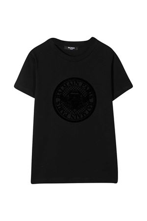 T-shirt teen nera con stampa frontale Balmain kids BALMAIN KIDS | 8 | 6N8611NX310930NET
