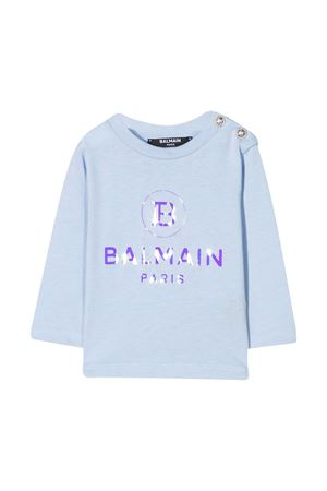 Blue t-shirt with frontal logo press Balmain kids BALMAIN KIDS | 8 | 6N8800NX290607