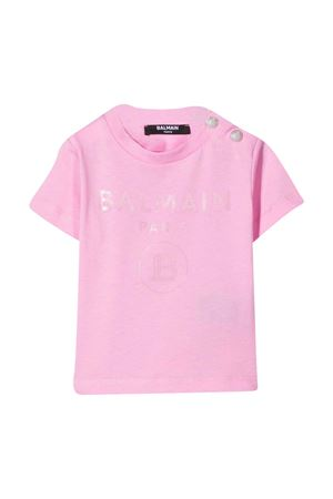 Pink t-shirt with frontal logo and buttons Balmain kids BALMAIN KIDS | 8 | 6N8841NX290516