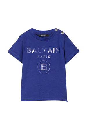 Blue t-shirt with frontal logo and buttons Balmain kids BALMAIN KIDS | 8 | 6N8841NX290616