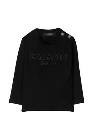 Black shirt with frontal logo and buttons Balmain kids BALMAIN KIDS | 8 | 6N8850NX290930