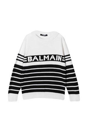Maglione bianco teen con righe nere Balmain kids BALMAIN KIDS | 7 | 6N9500NB280930BCT