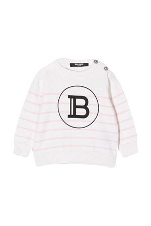 White shirt with stripes Balmain kids BALMAIN KIDS | 7 | 6N9800ND840100RS