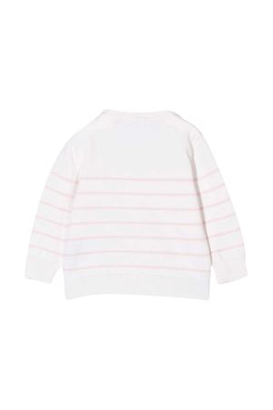 Maglione bianco a righe con stampa logo Balmain kids BALMAIN KIDS | 7 | 6N9800ND840100RS